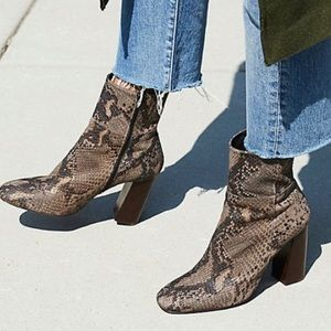 Free People Nolita Snakeskin Leather Boot Taupe Size 9